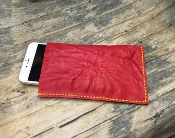 Phone Sleeve Series - UBIS001 : Cowhide iPhone 6+ sleeve (wrinkle style with red in color).