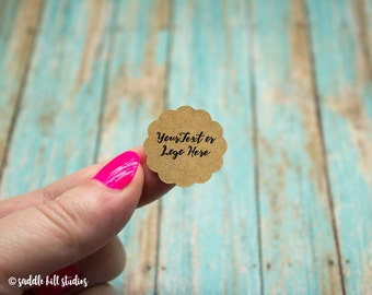 """Custom Stickers - Custom Labels - 1"""" Scallop Circle Stickers - Set of 120 - Personalized Labels - Kraft Stickers - S0117-1"""