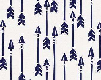 Windsor Navy Flying Arrow Organic Fabric - By The Yard - Gender Neutral / Boy / Girl