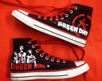 NEW Custom-Made Green Day Converse Sneakers