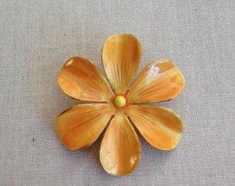 Vintage Sandor enamel flower pin, golden rod, floral, bridal bouquet, wedding, vintage, jewelry, flower power, repurpose, metal flower