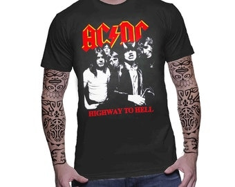 AC/DC ac dc Highway To Hell Vintage Retro Graphic Men T-Shirt Australian Heavy Metal Hard Rock Music Band Men Tee Top T-Shirt
