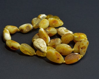 Raw Baltic amber necklace/ unpolished amber/ handmade/ natural amber