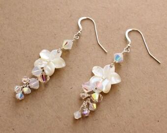 Pearl and Crystal Plumeria Earrings, Pearl and Crystal Frangipani Earrings, Hawaiian Beach Wedding Plumeria Earrings
