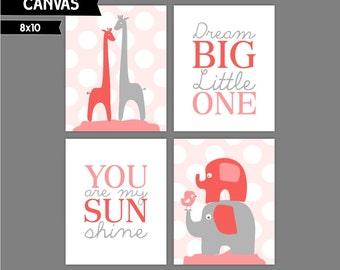 Coral and Grey Girl nursery art, canvas prints, Elephant, Giraffe, Dream big little one, You are my sunshine, Set of 4 8x10 ( NS81010113 )