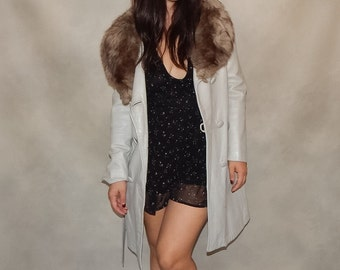 SALE--Leather Coat With Mink Collar