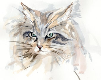 Scottish Wildcat Dec 2015 Signed Limited Edition Archival Print of my own watercolour painting