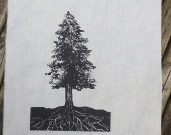 conifer tree silk screened back patch-- original line drawing by amara hollow bones forest punk back patch