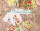 First birthday outfit|yellow mint pink tutu|birthday outfit for girl|high chair banner|birthday tutu|first birthday girl|cake smash outfit|