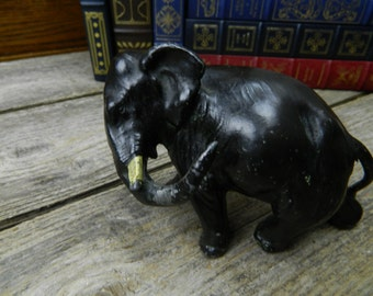 Beautiful Antique Cast Pot Metal Cast Iron Elephant Statue