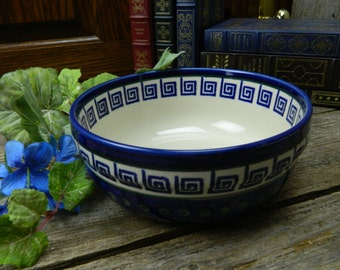 "Vintage Polish Pottery 7 3/4"" Serving Bowl - Boleslawiec - Greek Key Design"