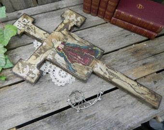 Vintage Hand Painted Folk Art Wood Cross