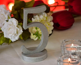 Silver Glitter Table Numbers, Gold Table Number for Weddings,Table Number, 10 table numbers