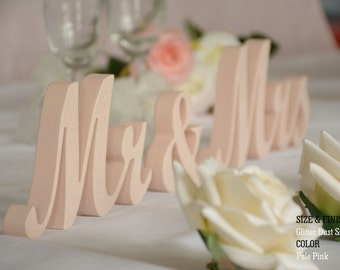 Mr and Mrs Wedding Signs- Wedding Sign- Pale Pink Mr & Mrs Wedding