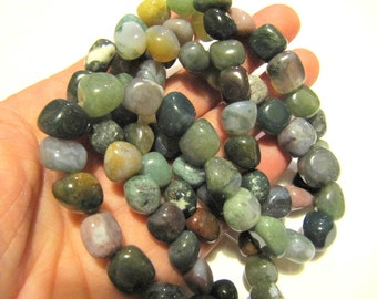 Gemstone Beads Indian Jasper, Natural, Nugget, 8 MM, 16 Inch Strand, 39 Beads, Earth Tones , Jewelry Beads, Beading Supplies