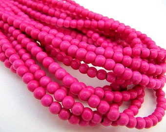 Turquoise Bead Strand, Synthetic, Dark Pink, Dyed, Round, 4 mm, 100 Piece Strand, Sale, Jewelry Supply