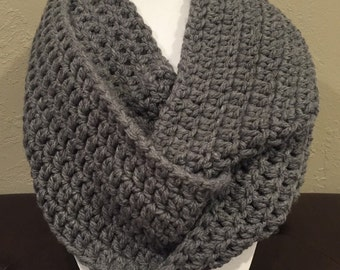 Crochet Infinity True Gray Cowl Scarf