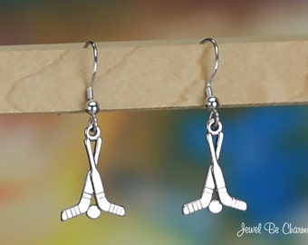Sterling Silver Hockey Sticks and Puck Earrings Pierced Solid .925