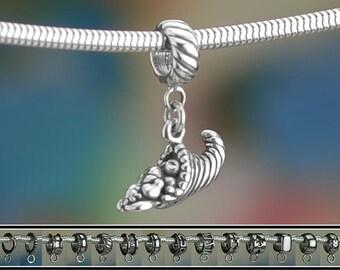 Sterling Silver Cornucopia Charm or European Bracelet Thanksgiving 925