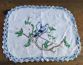 Hand embroidered bluebird doily with crochet edging - 20% off!