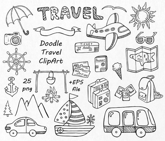 Doodle Travel Clipart Hand Drawn Summer Digital Clip