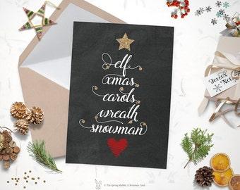 Printable modern snow christmas card holiday card 5 x7 printable christmas card joy love peace christmas tree word card holiday card solutioingenieria Gallery