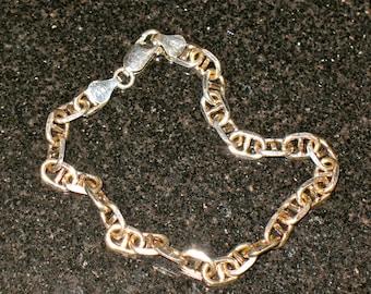 Vintage Sterling Silver 925 Heavy Gauge Flat Anchor Chain Bracelet 7.75 inch