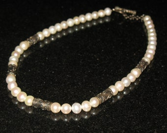 Lori Bonn Real Pearl and Sterling Silver Necklace 18 inch