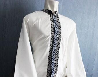 Handmade Mens Shirt Dress Full Embroidery Vintage Tunic Shirt Kaftan Dress