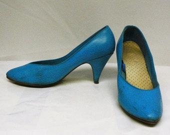 Vintage turquoise blue high heel pumps size 7 retro 1980's ddd