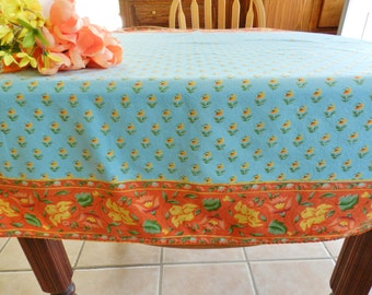 April Cornell Tablecloth, Country French Tablecloth, April Cornell, Turquoise Tablecloth, Turquoise and Orange Tablecloth