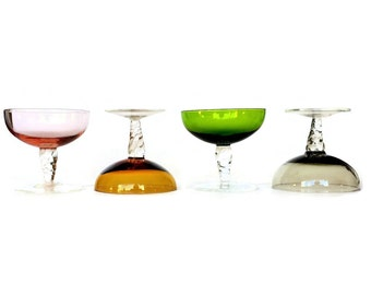 Multi Color Sherbet Cups, Champagne Coupes, Twisted Stem, Pink, Green, Smokey, Amber