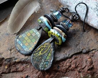 Primitive boho earrings, Rustic tin, Lampwork beads, Black, Aqua, Ethnic, Tribal, Unique charms, Recycled tin, Earthy, Artisan, Eclectic