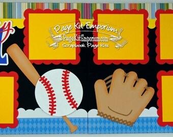 Scrapbook Page Kit Layout Baseball Boy Girl Sports Outdoors 2 page Scrapbook Layout Kit 92