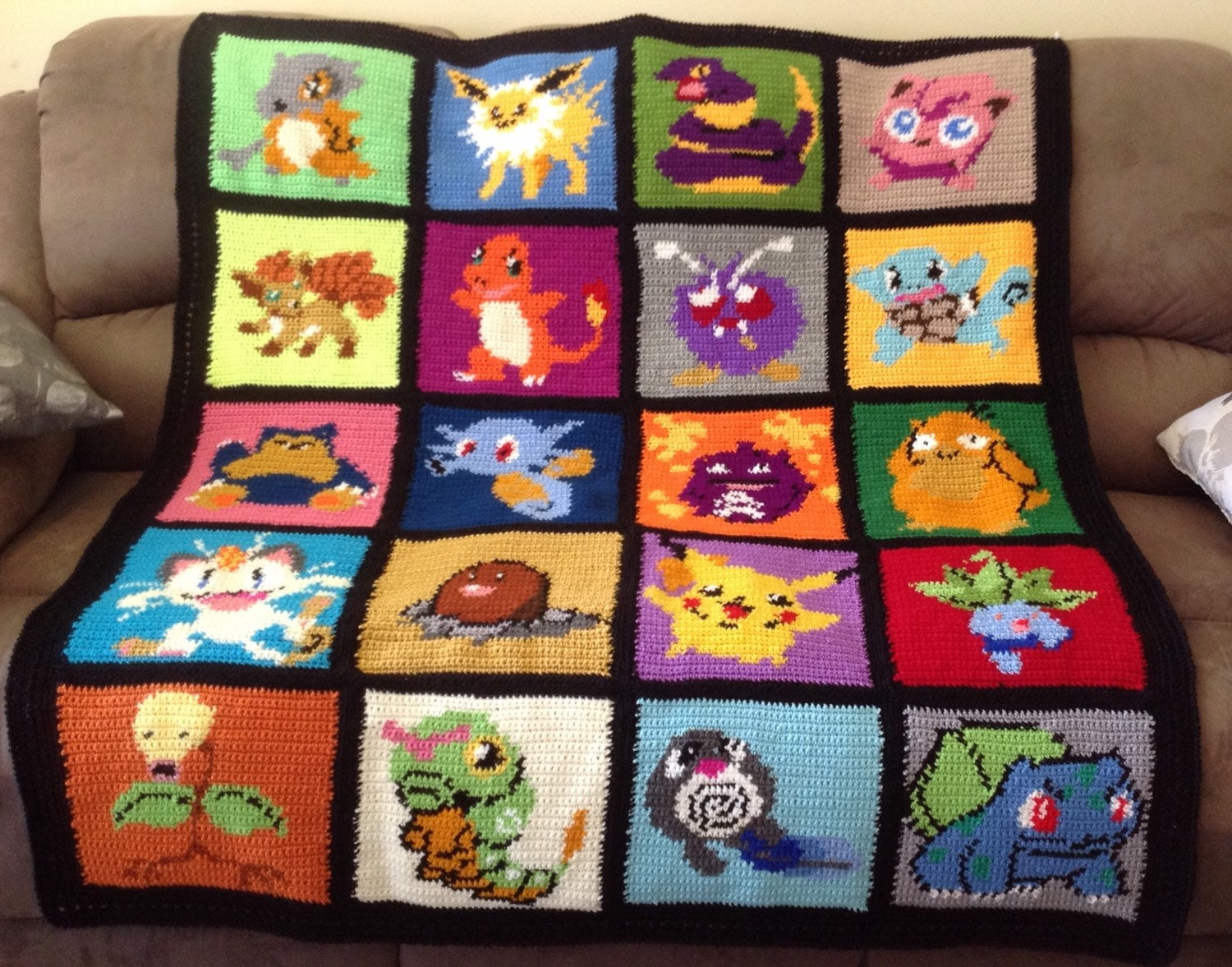 Crochet Patterns Pokemon Characters : Handmade Crochet Pokemon Characters Blanket