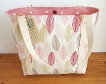 Canvas Shoulder Bag, Pink Teacher Tote, Diaper Bag with Full Width Zip Pocket, Summer Handbag, Vegan Shopper, Casual Bag, Womens Gift