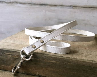 White Leather Wedding Dog Leash Pet Leash Dog Wedding Outfit