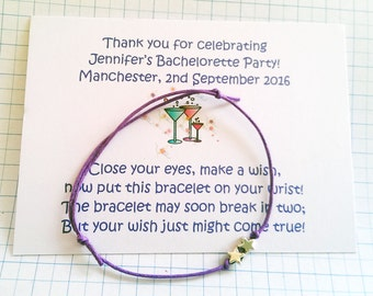 Set of 10* Bachelorette Party Night Weekend * Personalised Wish/Charm Bracelets Bachelorette Party Favour Gift