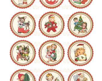 Vintage Christmas Cup cake toppers