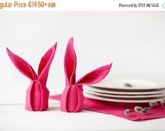 SALE 15 OFF Linen napkins - Pink napkins set of 6 - Easter bright pink linen napkins - Easter napkins
