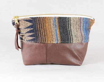 Southwest Stripe Fabric & Brown Leather Zipper Pouch