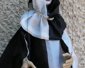 Marionette carved/ marionette on string  original wood hand-made-Pierrot- puppet