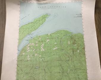 1954 topography map of Keweenaw Bay quadrangle Michigan