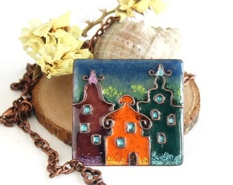 House pendant, architecture jewelry, town landscape, Amsterdam art, colorful houses
