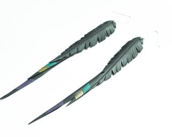 Inner tube and Sterling Silver Feather Earrings -  Tripple - Teal Green, Gold  and Purple Lines