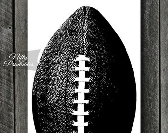 Football Print - INSTANT DOWNLOAD Football Art - Football Poster - Football Gifts - Black White Football Wall Art Decor - Sports Print SART