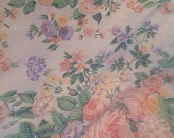 Vintage Flat sheet, Double size, Pastel Floral print