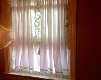 Vintage Ruffled Curtains....Cape cod style.....cotton.....green crossstitch edging