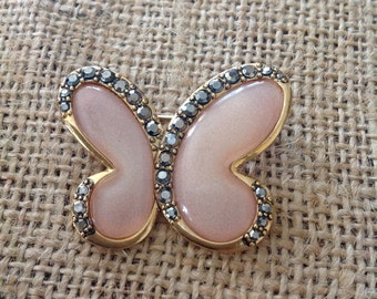 Vintage Butterfly Pin, Muted Pink Stone, Rhinestone encrusted