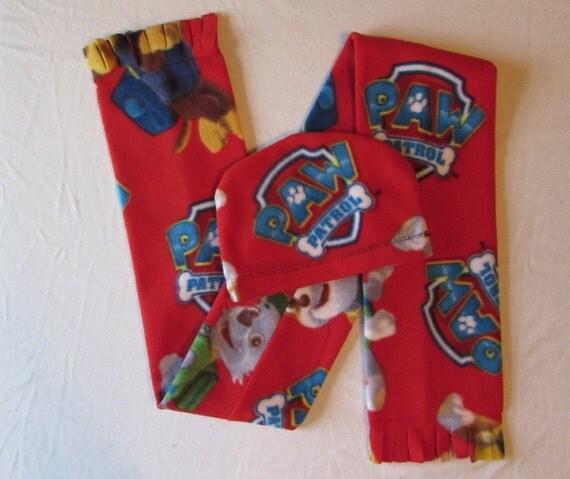 Fleece Paw Patrol hat/fleece paw patrol scarf/toddler scarf/toddler hat/scarf set/paw patrol hat/paw patrol scarf/ toddler and school age